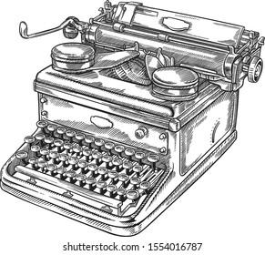 Classic vintage old typewriter machine line vector illustration
