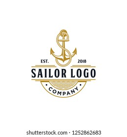 Classic Vintage Retro Country Emblem Anchor S rope for Sailor logo Typography with initial letter S in rope for Logo design inspiration