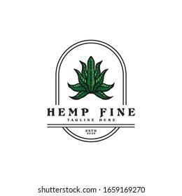 Classic Vintage Retro Country Emblem Hemp Fine Premium logo badge design inspiration, Ganja Marijuana Cannabis Weed Label Emblem Stamp Logo design vector