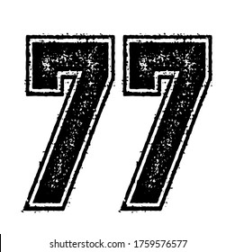 Classic Vintage Sport Jersey / Uniform numbers in black with a black outside contour line number on white background for American football, Baseball and Basketball