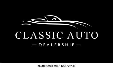 Classic vintage style sports car auto dealership logo icon. Retro style luxury garage vehicle silhouette. Vector illustration.