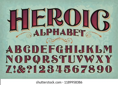 A classic vintage styled alphabet. This font has a Victorian, antiquarian book titling quality, or perhaps an old west or circus sign vibe.