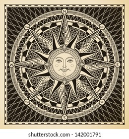 Classic vintage sun compass rose.