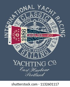 Classic vintage yacht  racing sailing regatta - vector print  for boy man shirt with applique embroidery patch