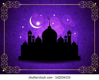 Classic violet color religious eid background with mosque. vector illustration
