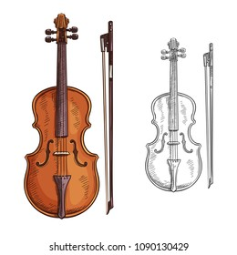 Classic violin with bow vector sketch. Vector brown violin and bow isolated on white background. Concept of music and entertainment. Creative design with colorful and black and white violin