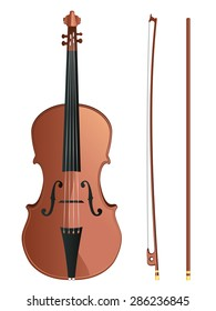 Classic violin with fiddle stick on white background