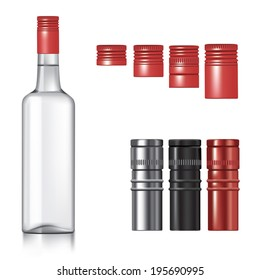 Classic vodka bottle with different caps. Vector illustration