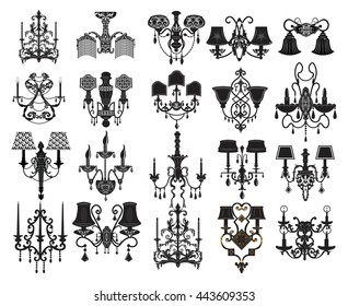 Classic Wall Lamps Set Collection. Luxury decor accessory design. Vector illustration sketch