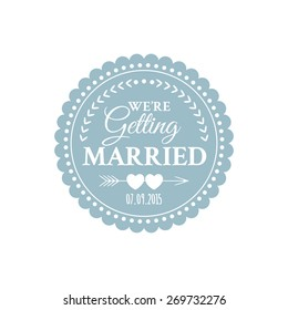 Classic wedding vintage badge in retro design with hearts and arrows