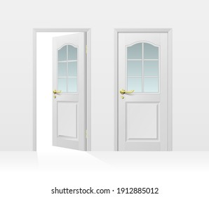 Classic white entrance door closed and open for interior and exterior design isolated on white background. Realistic 3d vector illustration