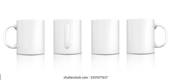 Classic white mug mockup set from different angles - front, side and back view isolated on white background. Blank cup collection with empty copy space, vector illustration.