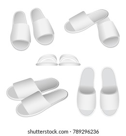 Classic white terry cotton slippers set. Soft footwear for home, hotel, sauna or spa. Vector illustration isolated on white background.