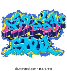 Classic wild style graffiti artwork isolated on white