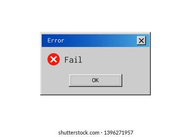 Classic window alert dialog box of system error