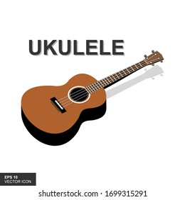 Classic wood guitar. Small acoustic guitar or ukulele. Isolated rock or jazz equipment against a white background. Vector illustration.