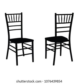 Classic wooden chair set, Chiavari or Tiffany design. Ounline black and white vector illustration isolated on white background