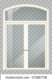 Classic wooden window and double doors to the terrace. Transparency. Vector graphics