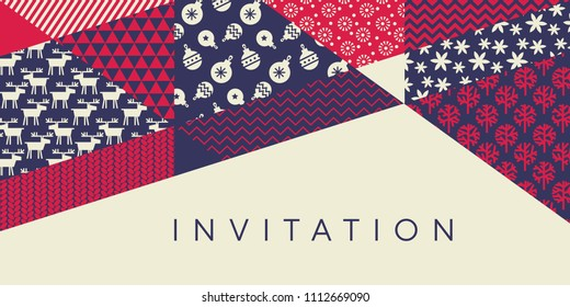 Classic xmas simple pattern for header, card, invitation, poster, cover and other web and print design projects. Naive Christmas patchwork motif in red and blue colors.