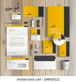Letterhead template images stock photos vectors shutterstock classic yellow corporate identity template design with black vertical line business stationery spiritdancerdesigns Choice Image