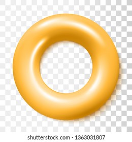 Classic Yellow Safety Inflatable Rubber Ring Isolated On Transparent Background. Vector Photo Realistic Illustration. Top View