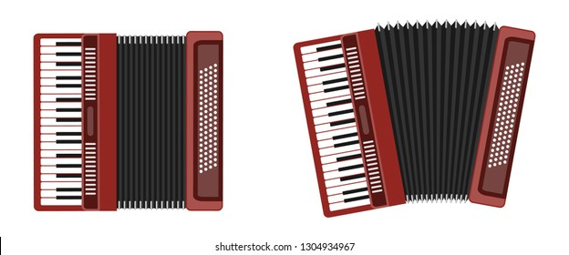 Classical accordion, harmonic, jew's-harp. Musical instrument. Accordion isolated on white background. Accordion flat icon.