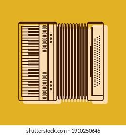 Classical accordion, harmonic, jew's-harp. Musical instrument vector illustration. Accordion flat icon.