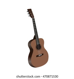 Classical acoustic guitar, Isolated on white background. vector illustration.