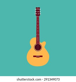Classical acoustic guitar. Isolated silhouette classic guitar. Musical string instrument collection. Vector illustration eps 8 in flat style. For your design and business.