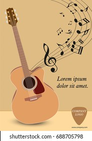 Classical acoustic guitar.. Musical string instrument collection. Vector illustration eps 8 in flat style. For your design and business.