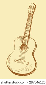 Classical acoustic guitar. Vector monochrome freehand linear ink drawn backdrop sketch in art antique scrawl style pen on paper. View close-up with space for text