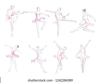 Classical ballet woman-dancers - vector illustration