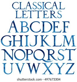 Classical blue watercolor font based on Renaissance sketch. Vintage architectural vector letters.