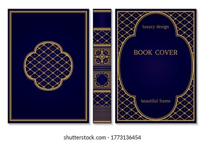 Classical book cover and spine design. Vintage ornament frames. Royal Golden and dark blue style design. Border to be printed on the covers of books. Vector illustration