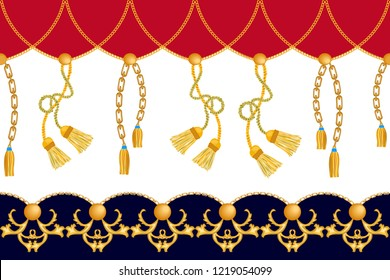 Classical border with baroque motifs. Seamless vector pattern with golden chains, curtain brushes and other decorative elements. Women fashion collection. Red, black, white.