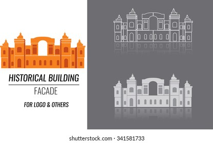 Classical building architecture made in vector. Building of a church or cathedral modern logo for construction company template. City constructor series.