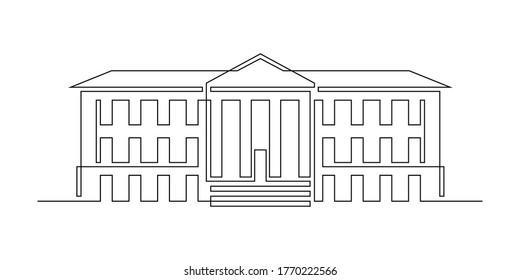 Classical building with columns in continuous line art drawing style. Typical architecture for government, court, university or museum accommodation. Black linear design isolated on white background