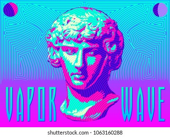 A classical bust rendered in bright colors in the vaporwave style.