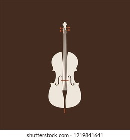 Classical cello icon. Isolated Vector String ill.