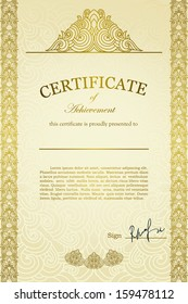 Classical Certificate with hand drawn design elements