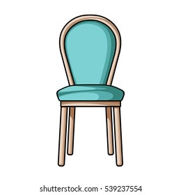 Classical chair icon in cartoon style isolated on white background. Furniture and home interior symbol stock vector illustration.