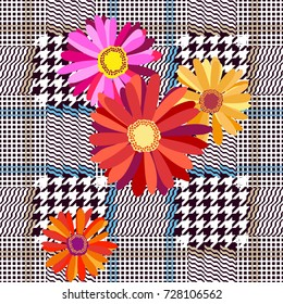 Classical checkered English fabric print with embroidered gerbera. Seamless hounds tooth pattern. Textile design for school uniform, plaids, scarfs. Red flower on grey background.
