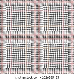 Classical checkered hounds tooth print for suits and coats. Seamless vector pattern with grey geometric elements. Textile design with English motifs. Spring collection.