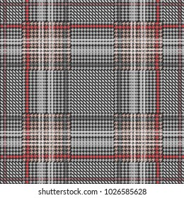 Classical checkered hounds tooth print with red stripes for suits and coats. Seamless vector pattern with grey geometric elements. Textile design with English motifs. Spring collection.
