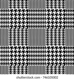 Classical checkered hounds tooth and zig zag print. Seamless vector pattern with black and white geometric elements. Textile design with English motifs. Autumn collection.