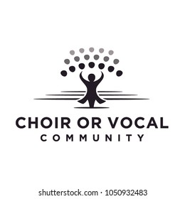 Classical Choir Chorus Vocal group perform led by a conductor, Christian Church Music Gospel logo design