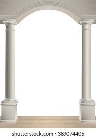 Classical columns and arch isolated, tiled floor. Vector architectural elements.
