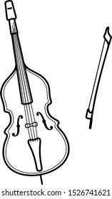 Classical contrabass. Vector outline icon.