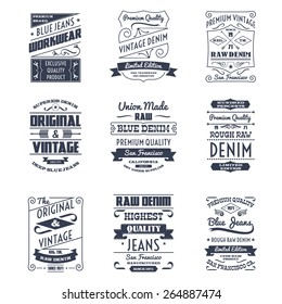 Classical denim jeans typography logo emblems limited edition graphic design icons collection black abstract isolated vector illustration