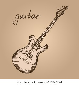 Classical electric guitar. Hand drawn musical instrument. Sketch. Vector illustration.